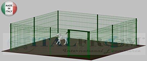 RECINTO-BOX MODULARE PER CANI IN FERRO ZINCATO E VERNICIATO VERDE-CON PALI A INTERRARE - cm 400x400x142h