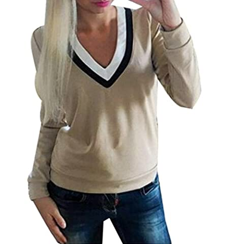 Tops, FEITONG Femmes V-Neck Splicing Casual Manches Longues T-shirt en