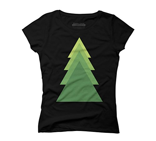 Geometric green tree Women's Graphic T-Shirt - Design By Humans Black