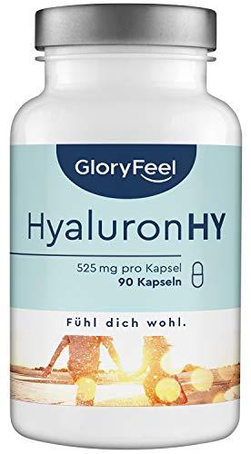 GloryFeel® Hyaluronsäure Kapseln 525mg Hochdosiert – 90 vegane Kapseln mit 500-700 kDa im 3 Monatsvorrat – 525mg reine Hyaluronsäure pro Kapsel – Laborgeprüfte Herstellung in Deutschland