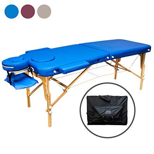 Zen Basic III Flat | Massage-Liege klappbar und höhenverstellbar | Voll-Holz | verstellbares Aluminium Kopfteil | mobiler Kosmetik-Tisch mit Tasche | Behandlungsbank TÜV zertifiziert (Blau)