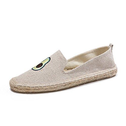 Canvas Schuhe 2018 Neue Low-Top Leinen Sohlen Frau Breathable Mädchen Mode Flache Loafers Espadrilles (Color : F, Größe : 35) (Schuhe Multi Canvas)