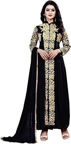 Ruri Enterprise Women's Faux Georgette Dress Material (RE_15_Free Size_Black)