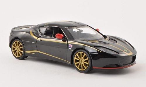 lotus-evora-s-schwarz-mit-dekor-modellauto-fertigmodell-motormax-124