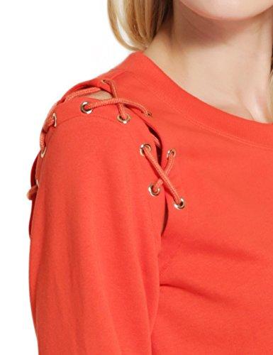 Fashion Cluster Femmes Casual Décontractée col rond manche longue Lace-up Sweat-shirt pullover capuche T-shirt Blouse Tops Orange