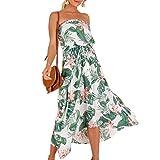 c75da4851c Babysbreath17 Las Mujeres de Bohemia del Largo de la Hoja de impresión  Vestido Palabra de Honor Vestido de Las niñas Beach Blanco M