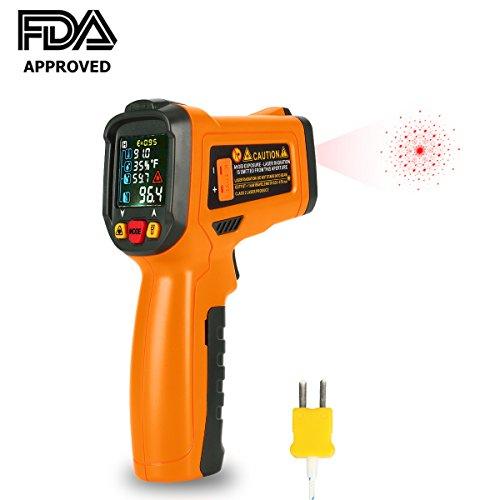 Infrarot Thermometer Laser Digital IR Thermometer Pyrometer kontaktfreies -58°F bis 1472°F (-50 °C~ 800 °C) mit K-Typ Thermoelement Farbe lcd 12-Punkte-Laserkreis Farbbildschirm für Küche Automotive und Industrial