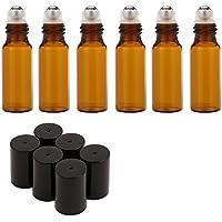 Rullo bottiglie di olio essenziale vetro Flaconcino/Roll On Biberon in vetro con palline di metallo a rullo per aromaterapia Profumi e Lip Balms contenitore, Set di 6bottiglie (10ml) marrone