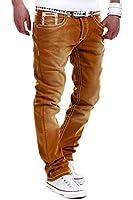 MT Denim Herren Jeans, Straight Fit, Dicke Naht Braun RJ-112