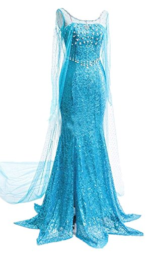 Lonely hero Damen Elegante Prinzessin Elsa Kleid mit warmer Stola Pailletten-Kleid Kostüm Cosplay Kleider (Damen Disney Kleid)