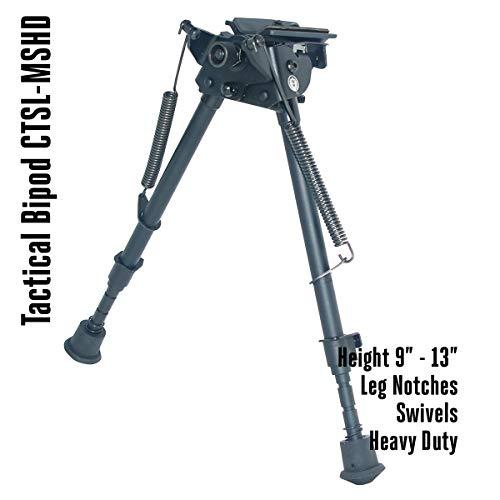 COBRA Tactical Solutions CTSL-MSHD | Taktisches faltbares Zweibein/Bipod höhenverstellbar | Schwenkbar | 23-33 cm | Für Airsoft Jagd Varmint Luftgewehr -