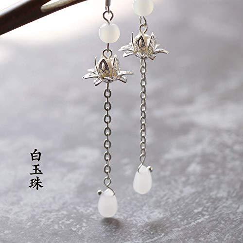 Alte Wind Ohrring Ohrringe Tropfen Chinesischen Wind Lotus Weibliche Temperament Lang Kein Ohr-loch Ohr-clip-ohrringe 7CM Baiyu B -