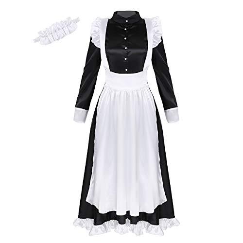Dienstmädchen Kostüm Französisch - dPois Damen Dienstmädchen Kostüm Set Langarm Kleid mit Schürze und Kopfbedeckung Französisch Maid Diener Cosplay Verkleidung Outfits Schwarz Schwarz Large