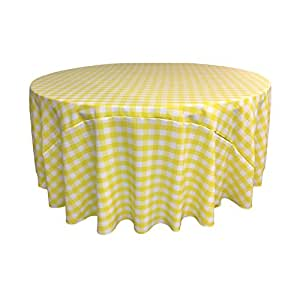 ... LA Linen Poly Checkered Round Tablecloth