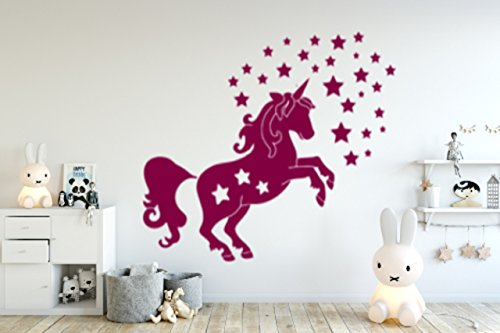 Price comparison product image Wall Sticker Unicorn Made in Germany Size: 70cm x 60cm Nursery Baby Room Playroom Girl Baby Princess Stars Christening New Baby Gift Decal Sticker