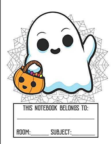 ng Cover Notebook: Fun Halloween Ghost Character Gold Glitter Print Effect Background, Large Lined Notebook For School Homework, Studying, Classes or Note Taking ()