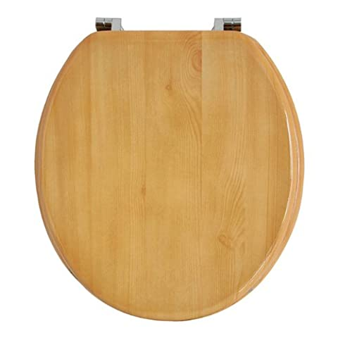 Anika Pine Effect Toilet Seat with Chrome Plated Hinges