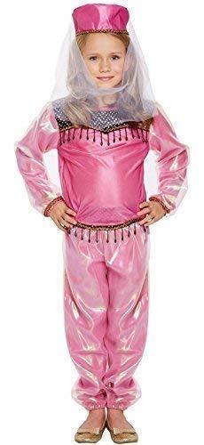Rosa da Bambina Bollywood Danzatrice del Ventre Attrice Indiano Arabo Internazionale Principessa Jasmine Festa del Libro Costume Vestito 4-12 Anni - Rosa, 4-6 Anni