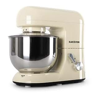 Klarstein Bella Morena TK1 Küchenmaschine Rührmaschine planetarisches Rührsystem 6-stufige Geschwindigkeit 5,2 Liter Edelstahlschüssel Schnellspannsystem Multifunktionsarm creme