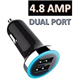 Robo - Original Dual Port USB Car Charger With 2 USB Port 4.8 Amps Fast Charge For All Mobiles Phones . Compatible Car Chargers For All Android And Apple Iphone Models . Hi-speed Car Mobile Charger Usb Socket Fast Charging For All Smartphones And Tablets