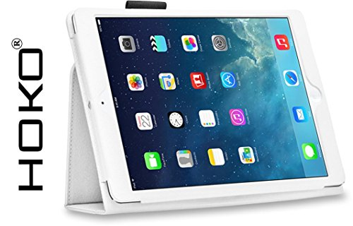 iPad Air Case, HOKO White Leather Flip Case Cover Stand with magnetic...