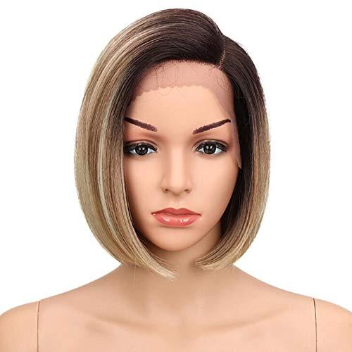 Layla Beauty Store Kurze Glatte Perücken Synthetische Ombre Haare Schwarz Wurzel Party Kostüm Täglich Perücke,Darkbrown,10inch
