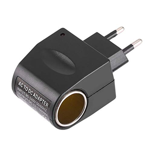 Universal Kunststoff + Metall 110V-240V 50-60Hz AC auf 12V DC EU Autoadapter Adapter Konverter Zigarettenanzünder - Schwarz -
