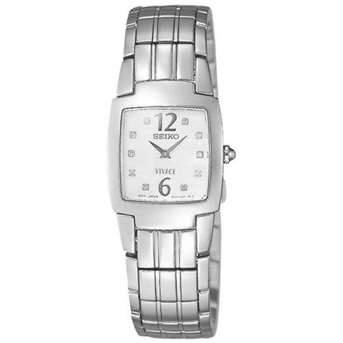 Seiko SUJ287P1 - Reloj analógico de mujer de cuarzo con correa de acero inoxidable plateada - sumergible a 30 metros