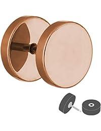 Pendientes con rosca Treuheld, color oro rosa, 4 tamaños: 6, 8, 10, 12 mm, acero quirúrgico 316L (libre de níquel), falso…