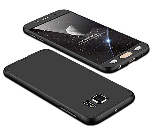 Achris custodia cover case per samsung galaxy s6 edge 3 in 1 rigida policarbonato custodia ultra sottile antishock antiurto anti-graffio - nero