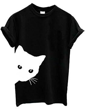 SLYlive T-Shirt - Gatto - Classico - Maniche Corte - Donna
