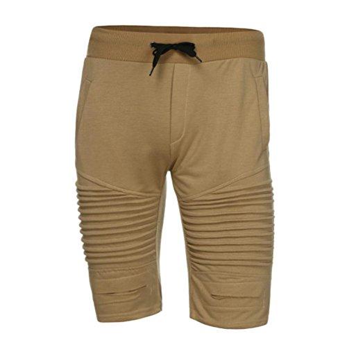 ASHOP Herren Kurze Hose, Einfarbige Elastisch Slim Fit Stretch Baumwollmischung Jogginghose Sportshorts Sweatpant Boxing Shorts (XXXL, Khaki)