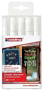 edding 4095 Fenster-/Kreidemarker, 2-3mm, 5er-Set, weiß