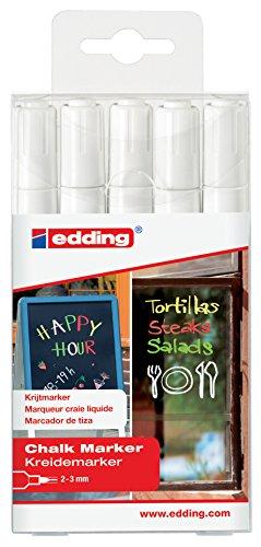 edding 4095 Kreidemarker - Farbe: 5x Weiß - 5er Set - Dünner Kreidestift / Fenstermarker - Beschriften von Fenster, Tafel und Glas - Feucht abwischbar