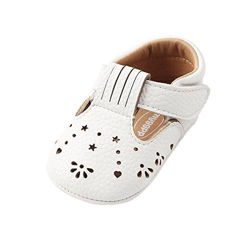 Bebé Niñas PU Zapatillas Infantil Verano Hueco Mary Jane Zapatos Primeros Pasos,Blanco,6-12...