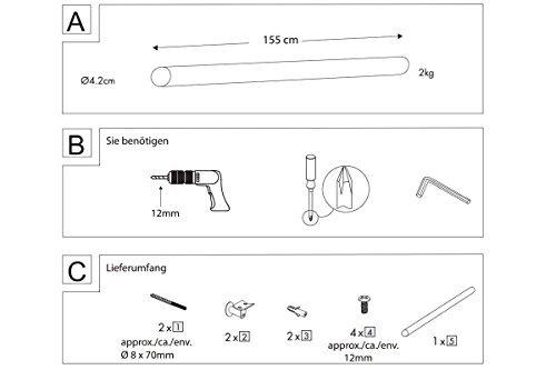 155 cm LIVARNO/® Handlauf-Set f/ür Treppen im Innenbereich Buchenholz ca