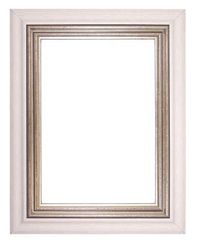 Edge 8x10 Foto (Memory Box Breite Rahmen London Range Bild/Foto/Poster Rahmen-Wide-londn-Frame-Parent, White Silver Edge, 10