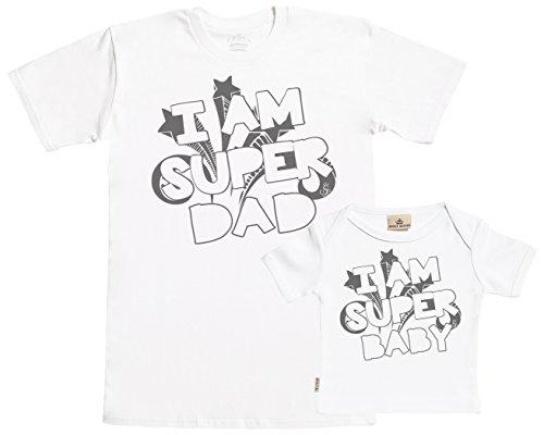 SR - Geschenkpackung Baby Geschenkset - I Am Super Dad & I Am Super Baby Set zur Geburt Vater T-Shirt und Baby T-Shirt in Geschenkbox - Vater Baby Geschenkset in Geschenkbox - Weiß - XL & 0-6M -