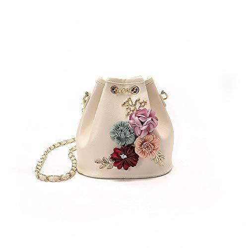 KAIDILA Handtaschen für Frauen zu patentieren, Elegante Litschi Muster Eimer-PU-Leder Damen Schultertasche Tasche Casual Mode & Arbeit, WHI Te Blau, Schwarz und Pink