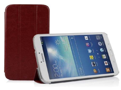 Preisvergleich Produktbild Cadorabo Hülle für Samsung Galaxy Tab 3.0 (8 Zoll) - Hülle in DATTEL BRAUN – Schutzhülle mit Auto Wake Sleep und Standfunktion - Book Style Etui Bumper Case Cover