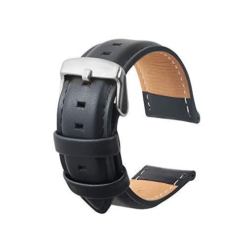 Omyzam cinturino orologi cuoio genuino di vitello uomini e donne cinturini di ricambio adatta per orologi moda sportivi smart watch nero 22mm