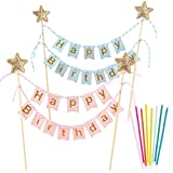 kungfu Mall 2 Pieces Happy Birthday Cake Bunting Topper Banner Garland Pennant Flags with Rainbow Candle Set for Kids Girls Boys Birthday Party Decoration