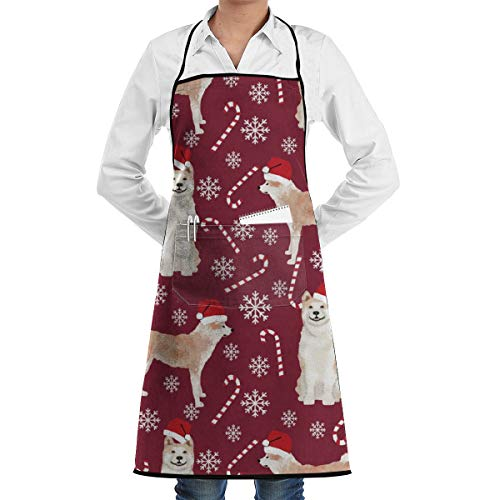 Akita Dog Breed Christmas Peppermint Sticks Candy Apron Gag Gift Apron for Kitchen Cooking Intended for Adult 28 X 20 Inch