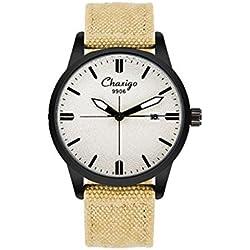 Mode Klassisch Segeltuch Uhrenarmband Kalender Unisex Quarzuhr Armbanduhr