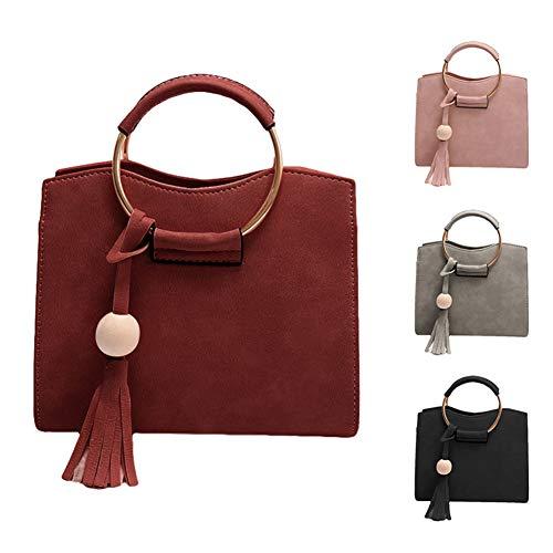 XdiseD9Xsmao Langlebig Leichte Einfarbige Quaste Ring Griff Umhängetasche Wasserdicht Kunstleder Handtasche Umhängetasche Rosa