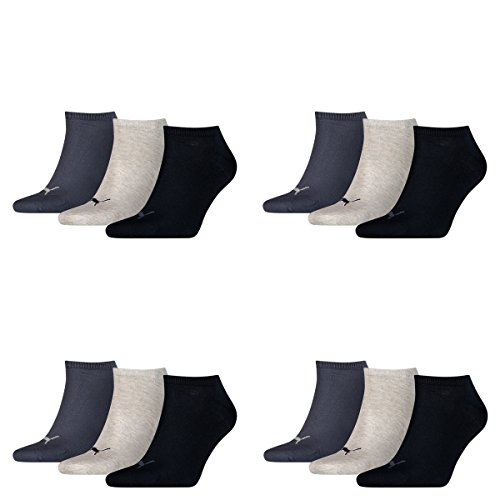 PUMA Unisex Invisible Sneaker Socken 12er Pack, Größe:47-49, Farbe:navy/grey/nightshadow blue -