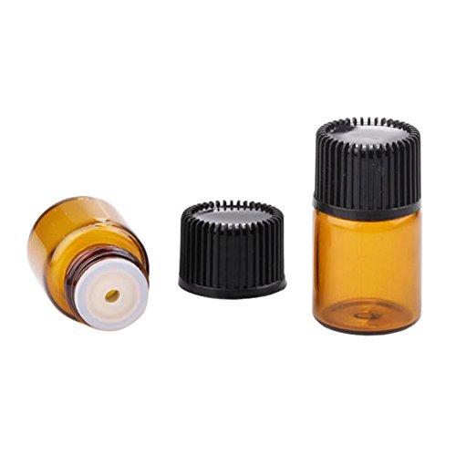 2 ml (5/8 Dram) Mini Bernstein Glas Wesentlich Öl Flaschen Für Aromatherapie Parfüm Labor Chemikalien mit Öffnung Reducer und Kappe (30 Stück)
