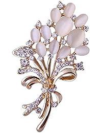 amatorial Elegante broche PIN gato ojo de la flor de diseño para la boda