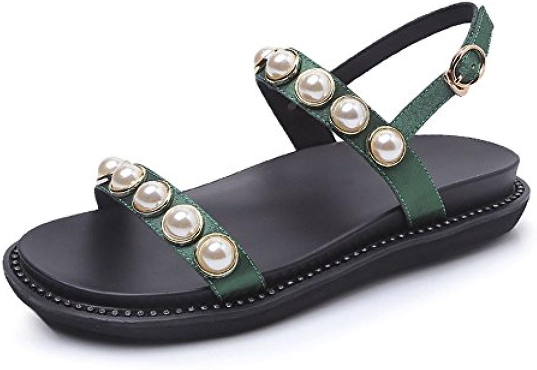 Perle Einfache Gummi Wilde Damen Sandalen (Farbe : Grün, Größe : 39 1/3 EU)