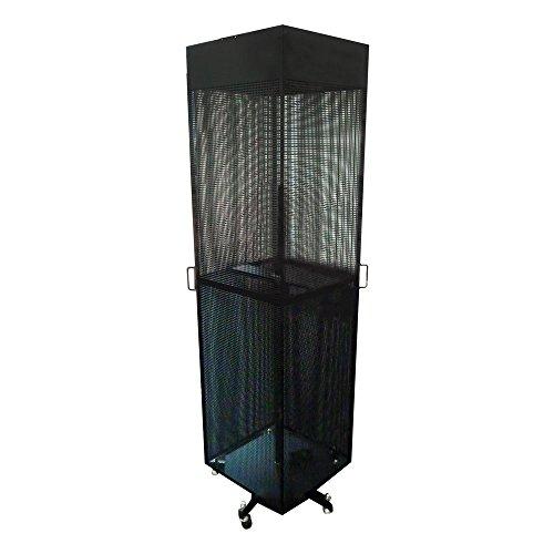 ebos Displayständer, Verkaufständer | 4-seitig, schwarz, drehbar/fahrbar, 44cm, incl. 40 Doppelhaken